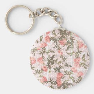 Peach Flowers on Print Background Keychains