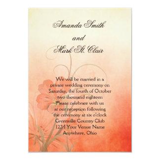 Peach Flowers Peach Texture Background Wedding Card