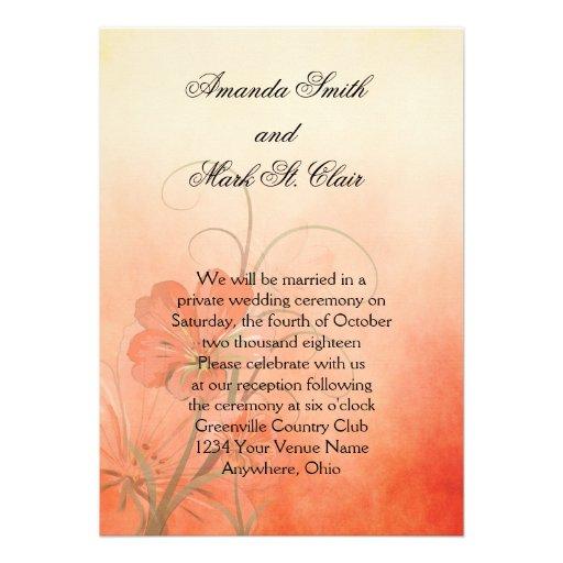 Peach Flowers Peach Texture Background Wedding 5x7 Paper Invitation Card
