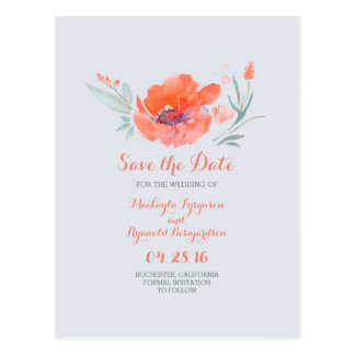 peach flowers watercolor save the date postcard
