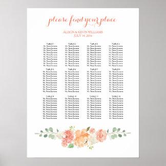 Peach flowers wedding dinner seating chart