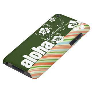 Peach & Forest Green Striped; Aloha Barely There iPod Covers