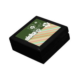Peach & Forest Green Striped; Aloha Keepsake Boxes