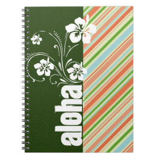 Peach & Forest Green Striped; Aloha Spiral Note Book