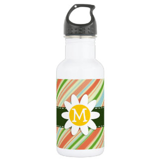 Peach & Forest Green Striped; Daisy Water Bottle