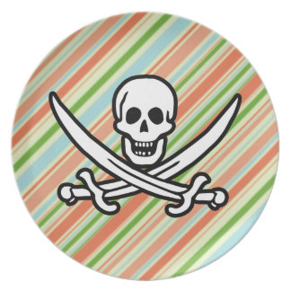Peach & Forest Green Striped Jolly Roger Dinner Plates