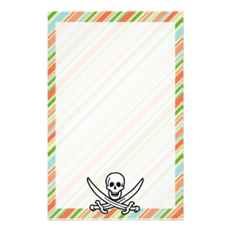 Peach Forest Green Striped Jolly Roger Stationery Design