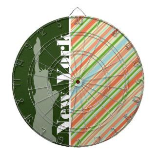 Peach & Forest Green Striped New York Dartboard