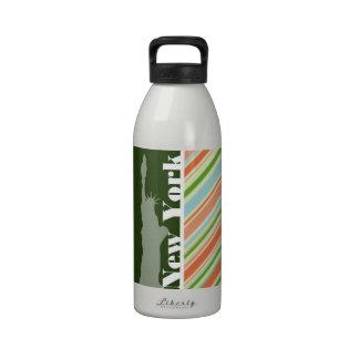 Peach & Forest Green Striped New York Water Bottles