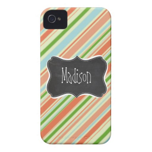 Peach & Forest Green Striped; Vintage Chalkboard iPhone 4 Case
