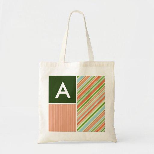 Peach & Forest Green Stripes; Striped Canvas Bag