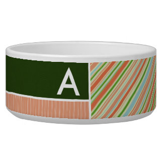 Peach & Forest Green Stripes; Striped Bowl