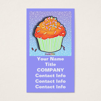 Peach Frosted CUPCAKE BUSINESS CARDS in Blue