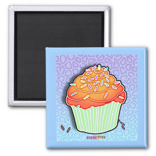 Peach Frosted CUPCAKE MAGNET