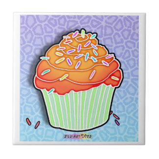 Peach Frosted Cupcake Tile