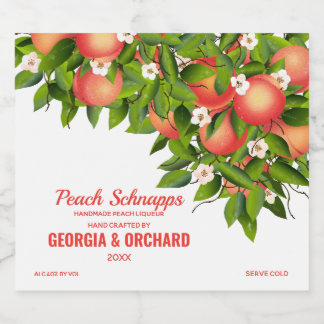 Peach Fruit Floral Liquor Bottle Label