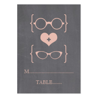 Peach Geeky Glasses Chalkboard Place Cards Large Business Cards (Pack Of 100)