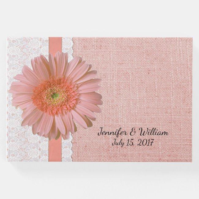 Peach Gerber Daisy Wedding Guest Book
