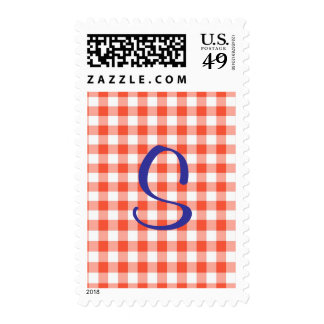 Peach Gingham Initial Postage