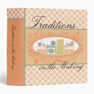 Peach gingham retro kitchen recipe cookbook binder