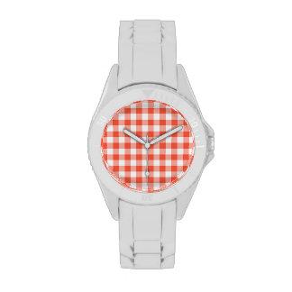 Peach Gingham Sporty White Watch