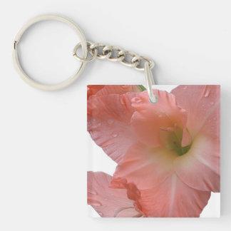 Peach Gladiola Flowers Key Chain