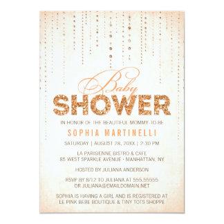 Peach Glitter Look Baby Shower Invitation