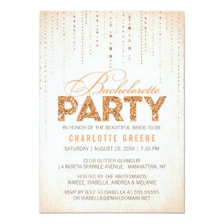 Peach Glitter Look Bachelorette Party Invitation