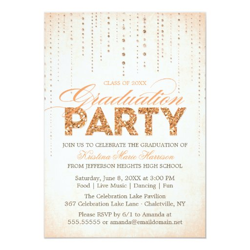 Peach Glitter Look Graduation Party Invitation