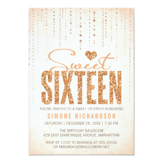 Peach Glitter Look Sweet 16 (Sixteen) Party 5x7 Paper Invitation Card