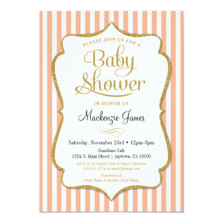 elegant peach baby shower invitations announcements zazzle