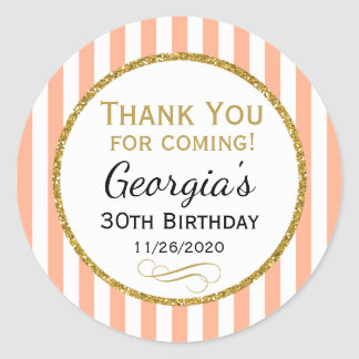 Peach Gold Birthday Thank You Coming Favor Tags