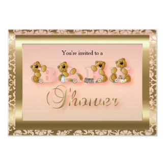 Peach & Gold Damask with Teddy Bears | Baby Shower Card