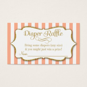 Toddler & Baby themed Peach Gold Diaper Raffle Baby Shower Cards