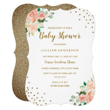Toddler & Baby themed Peach Gold Floral Confetti Baby Shower Invitation