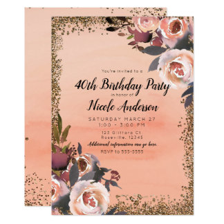 Peach & Gold Glitter Floral Modern Birthday Party Card