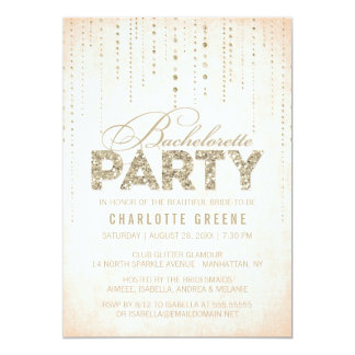 Peach & Gold Glitter Look Bachelorette Party Card