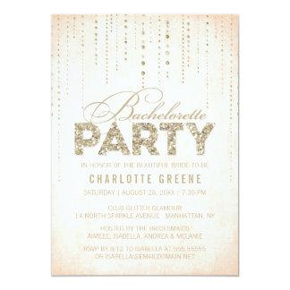 Peach & Gold Glitter Look Bachelorette Party Card