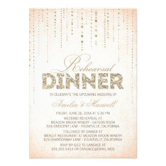 Peach & Gold Glitter Look Rehearsal Dinner Invite