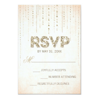Peach & Gold Glitter Look Wedding RSVP Card