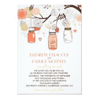 Peach & Gold Mason Jars Spring Wedding Invitation
