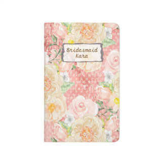 Peach Gold  Peony Flowers Bridesmaid Journal