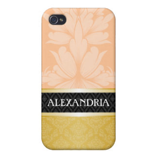 Peach & Gold Personalized Damask iPhone 4 Case