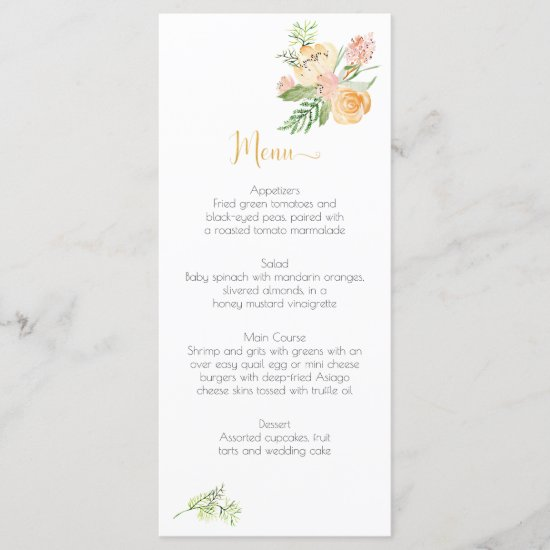 Peach Gold Pink Green Floral Menu Cards