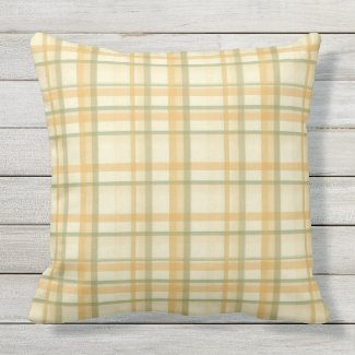Peach Gold Sage Green Plaid Outdoor Pillow 20x20