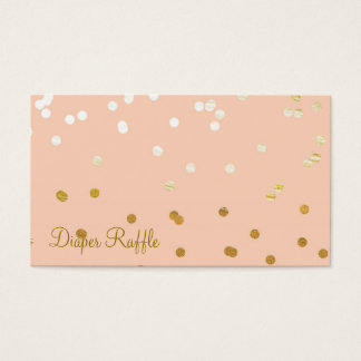 Peach & Gold Shiny Confetti Dots Diaper Raffle Business Card