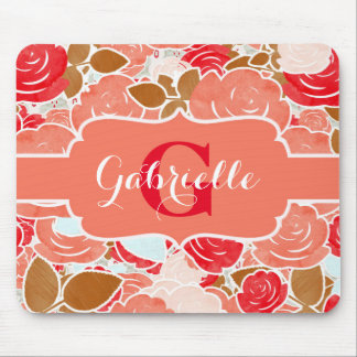 Peach & Gold Watercolor Roses Floral Monogram Mouse Pad