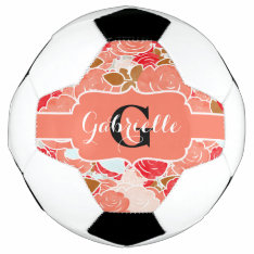 Peach & Gold Watercolor Roses Floral Monogram Soccer Ball at Zazzle