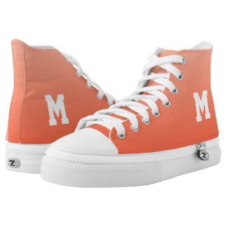 Peach Gradient custom monogram high top shoes