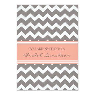 """Peach Gray Chevron Bridal Lunch Invitation Cards 5"""" X 7"""" Invitation Card"""